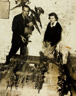 An image of Robert Klippel with Sheila McDonald at his Woolloomooloo workshop by