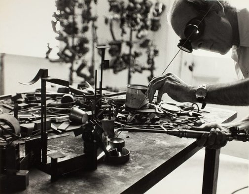 An image of Robert Klippel in his workshop by Unknown