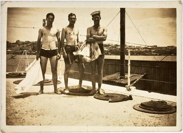An image of Robert Klippel, Harold Jarvis and unknown man on Snapper Island, Sydney harbour