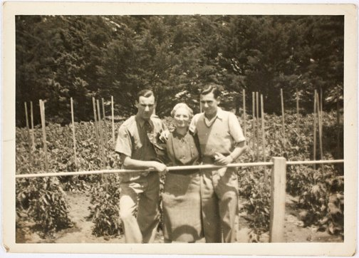 An image of Robert Klippel with his mother, Haide and brother, David in the garden at Bowral by Unknown