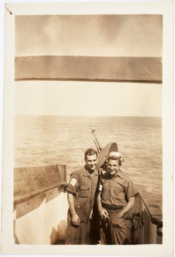 An image of Robert Klippel and friend aboard the Norfold
