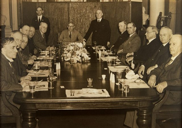 An image of Luncheon given by the Board of Trustees to commemorate a gift of new board room furniture from Howard Hinton