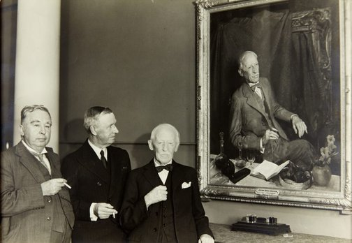 An image of Julian Rossi Ashton with his portrait by George W. Lambert by Unknown