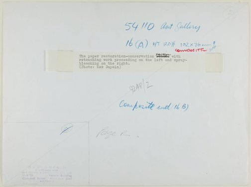 An image of Historical interior view of the paper conservation section of the Art Gallery of New South Wales, showing retouching work proceeding on the left and spray-bleaching on the right by Max Dupain
