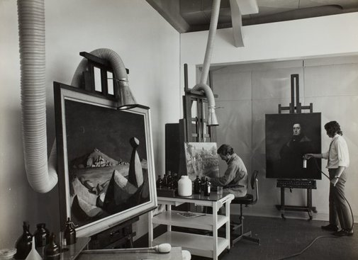 An image of Historical interior view of a section of the conservation department for oil paintings at the Art Gallery of New South Wales by Max Dupain