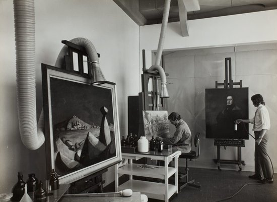 Alternate image of Historical interior view of a section of the conservation department for oil paintings at the Art Gallery of New South Wales by Max Dupain