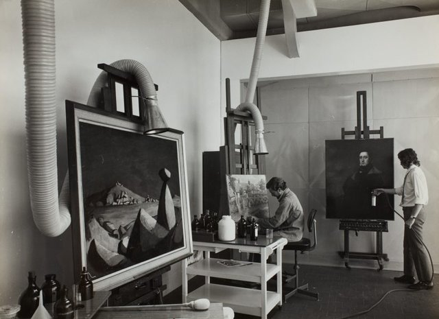 An image of Historical interior view of a section of the conservation department for oil paintings at the Art Gallery of New South Wales