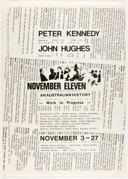 An image of November Eleven: An Australian History. Peter Kennedy and John Hughes at the George Paton Gallery, Melbourne by Peter Kennedy