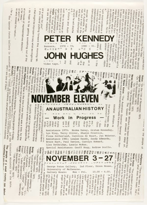 An image of November Eleven: An Australian History. Peter Kennedy and John Hughes at the George Paton Gallery, Melbourne