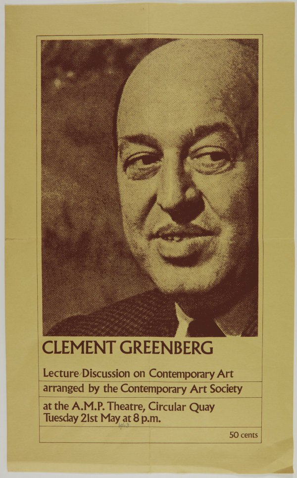 An image of Clement Greenberg lecture at the AMP Theatre, Sydney