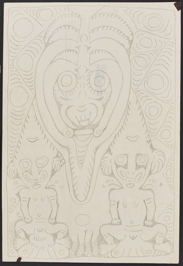 An image of Wai'i, a spirit associated with fighting shields