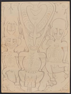 Alternate image of Serampam, a spirit figure associated with initiation rituals by Simon Nowep