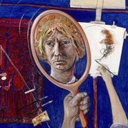 Image: Brett Whiteley Self portrait in the studio 1976 (detail), oil, collage, hair on canvas. Purchased 1977 © Wendy Whiteley