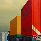 Image: Jeffrey Smart Truck and trailer approaching a city 1973 (detail), Art Gallery of New South Wales © Estate of Jeffrey Smart