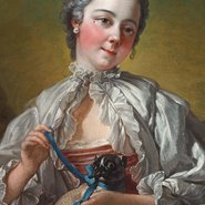 Image:  François Boucher A young lady holding a pug dog (presumed portrait of Madame Boucher) mid 1740s (detail), Art Gallery of New South Wales
