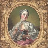Image: François Boucher A young lady holding a pug dog (presumed portrait of Madame Boucher) mid 1740s