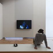 Installation view of Nalini Malani's in search of vanished blood 2012 in the exhibition Fearless