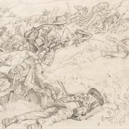 Image: George W Lambert Cartoon for 'The charge of the 3rd Light Horse Brigade at the Nek' 1920 (detail)
