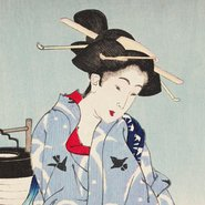 Image:  Tsukioka Yoshitoshi Cooling off at Shijō (detail) from One hundred aspects of the moon 1885-92
