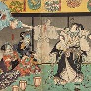 Image: Utagawa Kuniyoshi (1797–1861) The actor Bandō Hikosaburō IV as Orikoshi Masatomo© attacked by the ghost of Asakura Tōgo played by Ichikawa Kodanji IV 1851 (detail) woodblock print; ink and colour on paper, triptych 35.8 × 76.5 cm Art Gallery New South Wales, Yasuko Myer Bequest Fund 2018