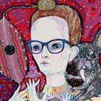 Image: Del Kathryn Barton Self-portrait with studio wife (detail), Archibald Prize 2018 finalist