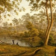 Image: John Glover Natives on the Ouse River, Van Diemen's Land (detail) 1838. AGNSW collection.