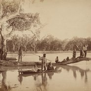 Image: Charles Bayliss Group of local Aboriginal people, Chowilla Station, Lower Murray River, South Australia (detail) from the album New South Wales Royal Commission: Conservation of water. Views of scenery on the Darling and Lower Murray during the flood of 1886 1886, albumen photograph, 23.6 × 29.5 cm, purchased 1984.