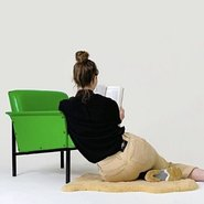 Studio view: Agatha Gothe-Snape, Lion's Honey, 2019, seven readers, one green vinyl chair, letter from the artist, the artist's sheepskin rug, read books and seven store-bought wall-mounted shelves. Commissioned by Kaldor Public Art Projects on the occasion of their 50th anniversary exhibition, Making Art Public, Art Gallery of New South Wales, 7 September 2019 – 16 February 2020. Photo: Document Photography