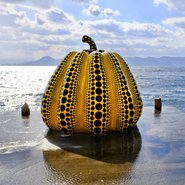 Image: Yayoi Kusama Yellow Pumpkin 1994 Naoshima Island, Japan. Photo: Gunta Podina / Alamy Stock Photo.