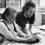 Image: Louise Bourgeois and her assistant Jerry Gorovoy, in her Brooklyn studio preparing to make a mould for a sculpture in 1995.Photo: Jean-François Jaussaud