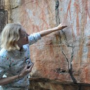 Image: Kimberley Foundation Australia Chairman Maria Myers AC, in front of Bradshaw Gwion Gwion rock art