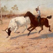 Image: Frank Mahony Rounding up a straggler 1889 (detail)