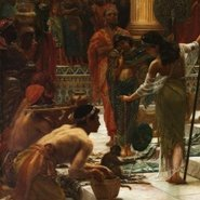Image: Sir Edward John Poynter The visit of the Queen of Sheba to King Solomon 1890 (detail)