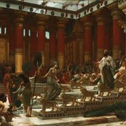 Image: Sir Edward John Poynter The visit of the Queen of Sheba to King Solomon 1890 (detail)