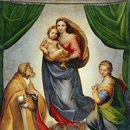 Image: Raphael (Raffaello Sanzio of Urbino) The Sistine Madonna 1513 (detail) Gemaeldegalerie Alte Meister, Dresden. © Staatliche Kunstsammlungen Dresden / Bridgeman Images.