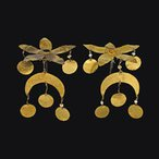 Image: Two ornaments in the form of flowers, gold, pearls, 5.7 cm l, Tillya Tepe, 1st century CE, National Museum of Afghanistan. Credit: Thierry Ollivier
