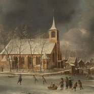 Image: Jan Abrahamsz Beerstraten View of the church of Sloten in winter c1660 (detail), Rijksmuseum, gift of SE Dribbel, Amsterdam