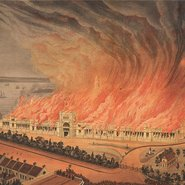 Image: Gibbs, Shallard and Company Burning of the Garden Palace, Sydney 1882 (detail),Museum of Applied Arts and Sciences