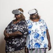 Image: Nyunmiti Burton and Pantjiti Lewis at NPY Uti Kulintjaku VR workshop, Alice Springs, 2019. Photo: Rhett Hammerton