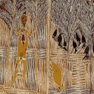Image: Wandjuk Marika Djan'kawu story c1963 (detail), natural pigments on bark, 161 × 51 cm, gift of Keith and Renée Free in memory of Tony Tuckson 1974 © Wandjuk Marika, licensed by Viscopy, Australia