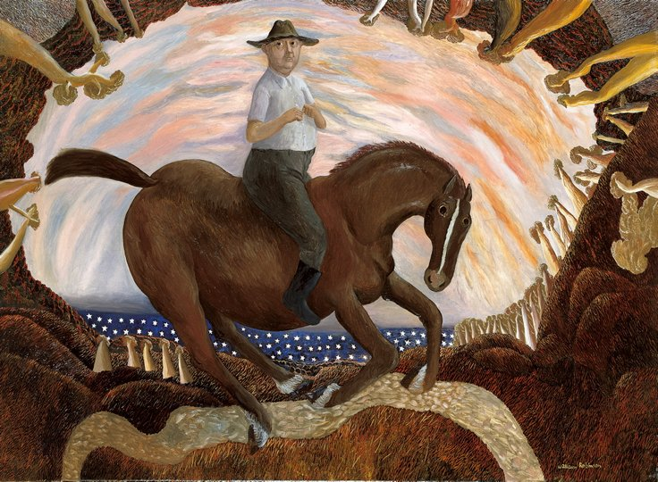 AGNSW prizes William Robinson Equestrian self-portrait, from Archibald Prize 1987