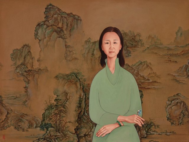 Portrait of Yin Cao on blue-and-green landscape