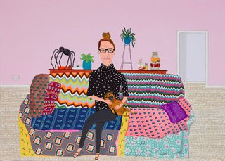 AGNSW prizes Marc Etherington Del Kathryn Barton and Magic Dog, from Archibald Prize 2015