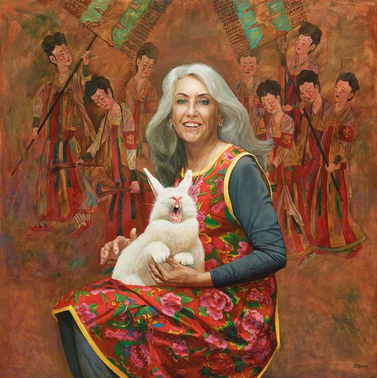 AGNSW prizes Jiawei Shen How to explain art with a white rabbit, from Archibald Prize 2015
