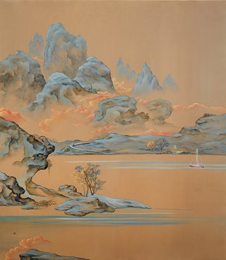 AGNSW prizes Dapeng Liu The temple, the sailing boat and the trolleybus ‒ a surrealistic mountainscape, from Sir John Sulman Prize 2015