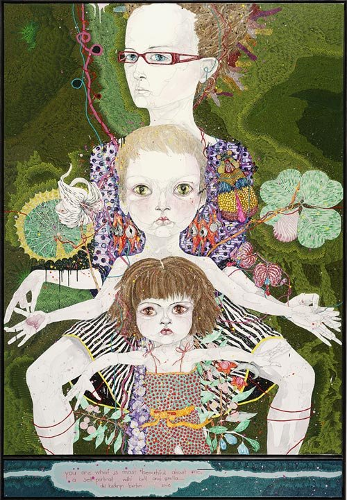 AGNSW prizes Del Kathryn Barton You are what is most beautiful about me, a self-portrait with Kell and Arella, from Archibald Prize 2008