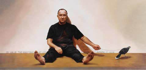 AGNSW prizes Paul Jackson Self portrait with last Huia, from Archibald Prize 2004