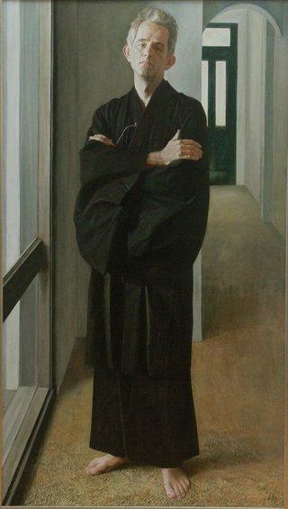 AGNSW prizes Jiawei Shen PhD John Clark in black kimono, from Archibald Prize 1993