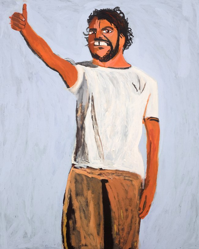 AGNSW prizes Vincent Namatjira Self-portrait on Friday, from Archibald Prize 2017