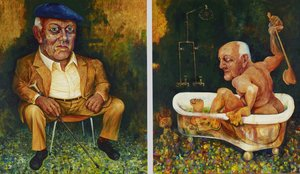 John Olsen - a diptych - part I seated, part II in his bath
